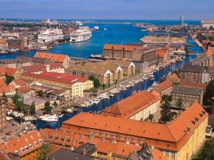 El puerto de Copenhague, Dinamarca