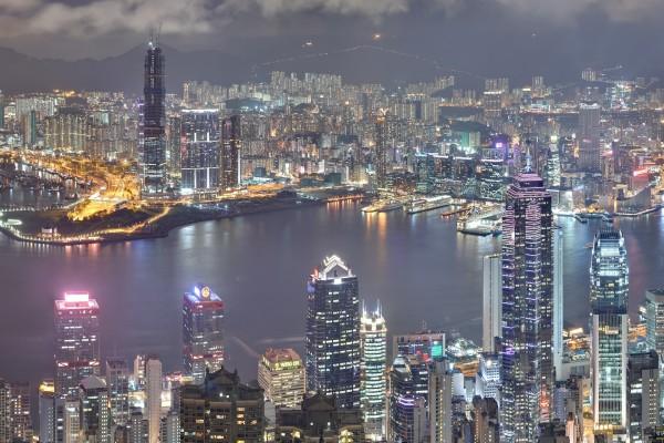 Noche en la ciudad de Hong Kong