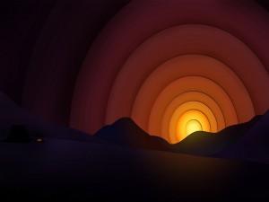 Postal: Sol y montañas