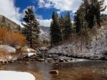 Nieve en las orillas del río
