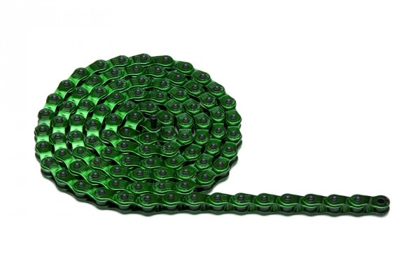 Cadena de bicicleta de color verde
