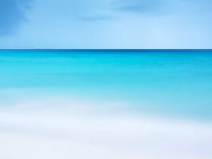 Postal: Azul del mar y el cielo