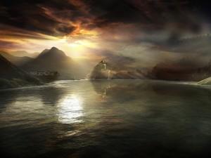 Lago mágico entre las montañas