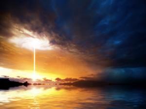 Espiral de luz en el cielo