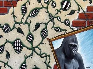 Postal: Gorila en el cuadro
