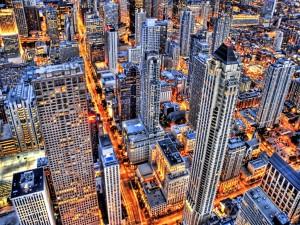 Vista aérea de edificios y calles de la ciudad
