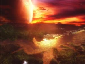 Ciudad en un planeta cercano al sol