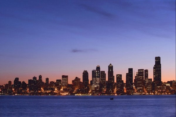Vista de la ciudad al llegar la noche