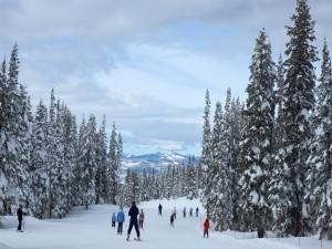 Gente en la pista de esquí