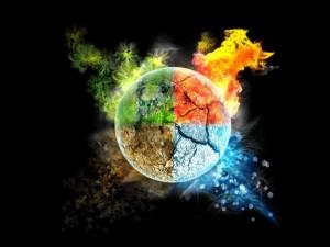 La tierra y los cuatro elementos