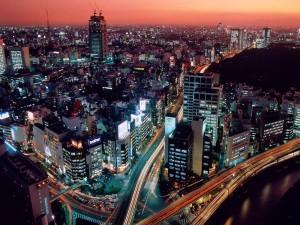 Vista aérea de varias carreteras