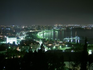 Postal: Vista de la ciudad nocturna