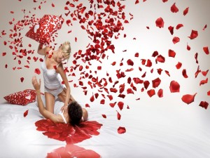 Postal: Pareja de enamorados festejando el Día de San Valentín