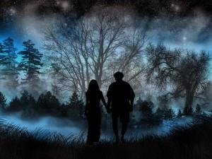 Caminando en la oscuridad del bosque