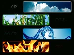 Postal: Imagen de los cuatro elementos