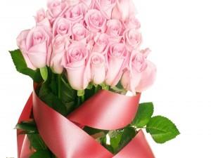 Postal: Ramo de rosas rosas para regalar