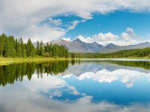 Postal: Paisaje en el lago