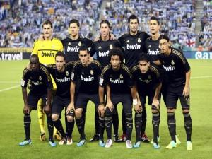 Jugadores del Real Madrid antes del partido