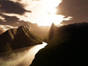 Postal: Río iluminado