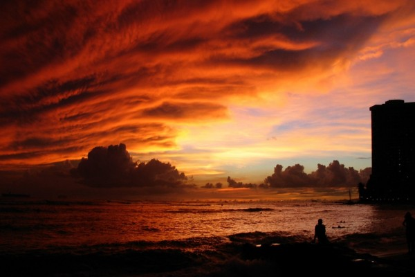 Admirando la puesta de sol