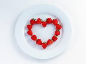 Corazón con fresas