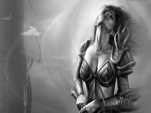 Mujer guerrera en blanco y negro