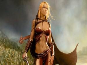 Postal: Elfa con espada