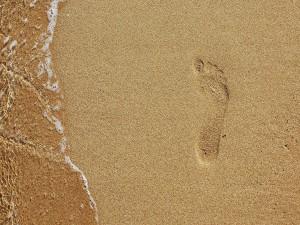 Huella de un solo pie en la arena de la playa