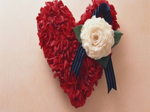 Corazón rojo de pétalos de rosa para el 14 de Febrero