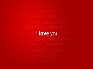 """I love you"" en fondo rojo"