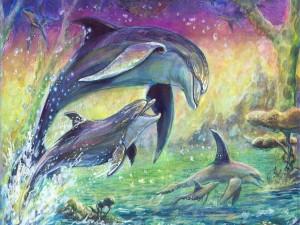 Postal: Delfines pintados en un lienzo
