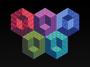 Postal: Cubos de colores en 3D