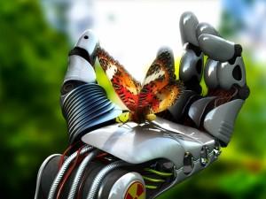 Postal: Mariposa en la mano del robot
