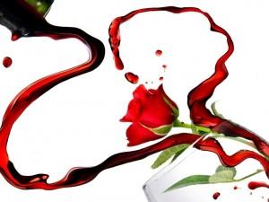 Postal: Rosa y vino por San Valentín