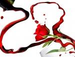 Rosa y vino por San Valentín
