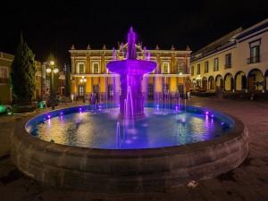 Postal: Fuente en el Teatro Principal de Puebla, México