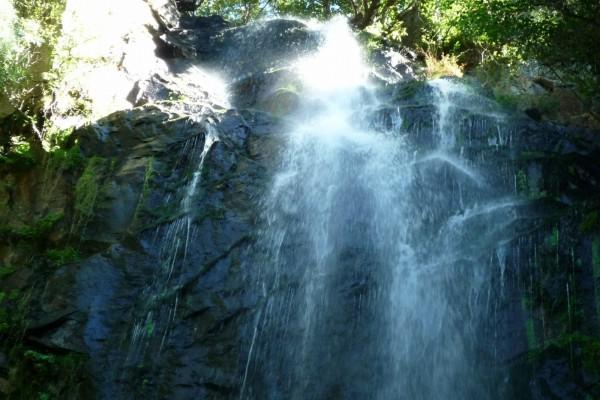 Mirando hacia la cascada