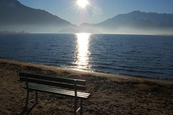 El sol reflejado en el mar