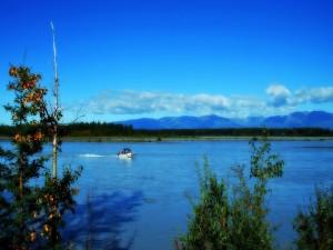 Postal: Barco en un río de Alaska