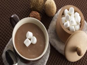 Taza de chocolate con malvaviscos