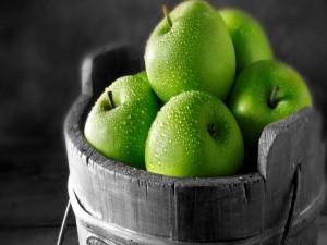 Postal: Manzanas verdes mojadas