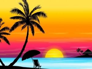 El sol se esconde en el horizonte