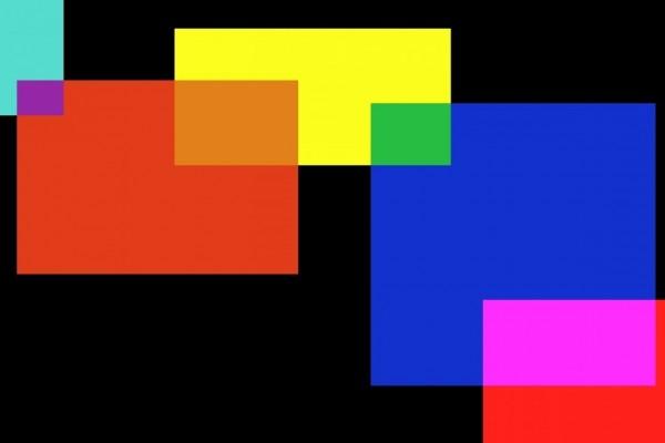 Cuadrados y rectángulos de colores sobre un fondo negro