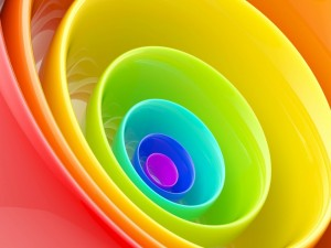 Postal: Cuencos de colores uno dentro del otro