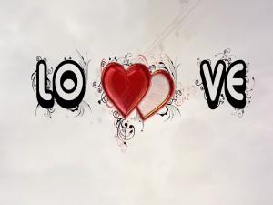 Postal: Mensaje de amor con corazones