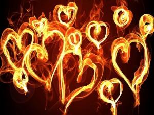 Postal: Corazones con fuego