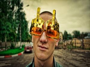 Postal: Originales gafas de sol