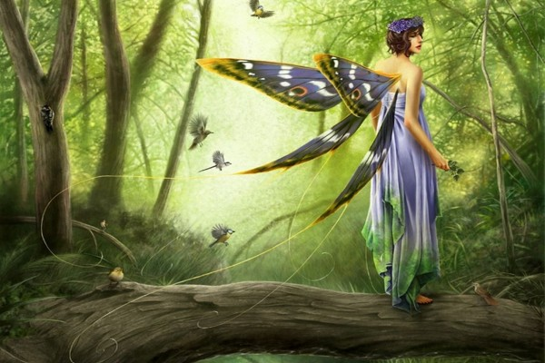 Hada en el bosque rodeada de pájaros