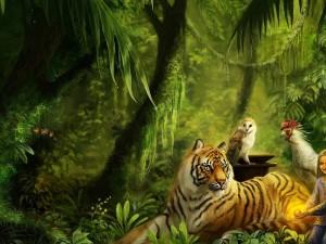 Niña con los animales del bosque