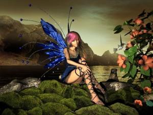 Postal: Hada con alas azules